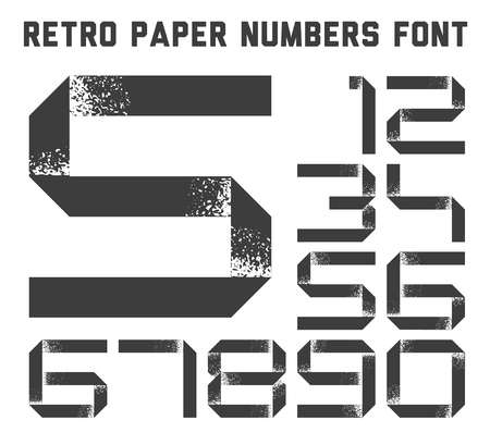 web 2 0: Numbers font made from white grunge paper stripe