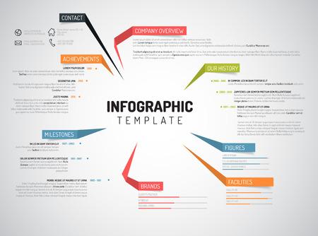 profil: Wektor szablon infografika projekt firmy Przegląd z kolorowych etykiet Ilustracja