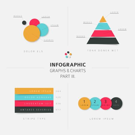 retro color: Set of vector flat design infographics statistics charts and graphs - fresh retro color version, part 3