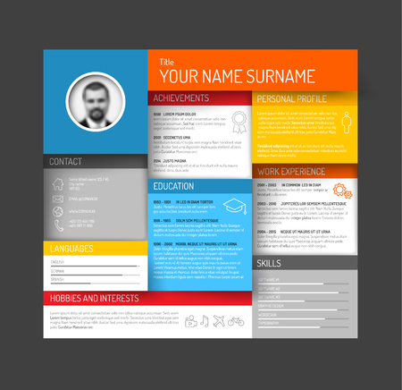 fresh colors: Vector minimalist cv  resume template dashboard profile - fresh colors with shadows