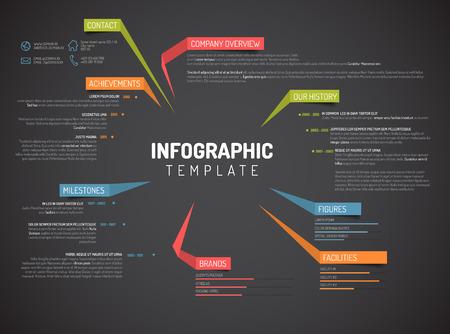 integridad: Vector Compañía infografía plantilla de diseño resumen con etiquetas de colores - versión oscura