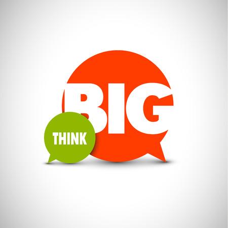 the big: Las letras del texto minimalista de un refrán inspirado Piensa en grande Vectores