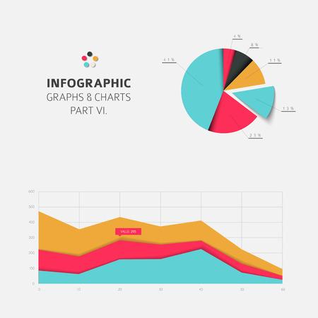 graficas de pastel: Conjunto de vector de diseño plana tablas y gráficos estadísticos infografía - versión fresca de color retro parte 6