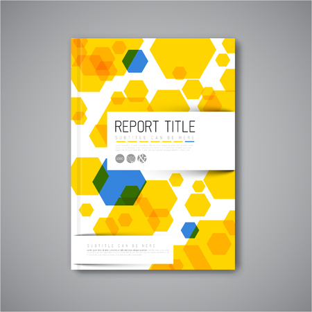hexa: Modern Vector abstract brochure  book  flyer design template with blue and yellow hexagons Illustration