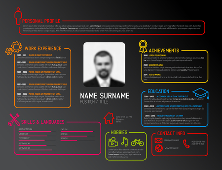 cv: Vector original minimalist cv  resume template - dark creative version