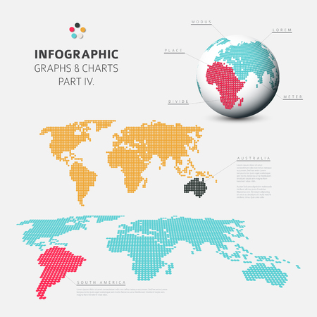 visualization: Set of vector flat design infographics charts - world map visualization - fresh retro color version part 4