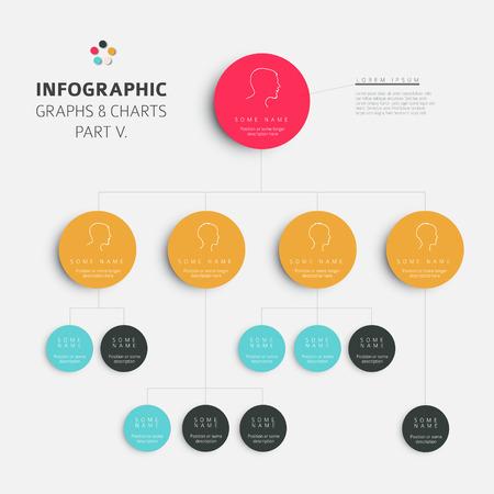 조직: 벡터 평면 디자인 인포 그래픽 계층 diagram- 신선한 복고풍 컬러 버전 부분 5 세트
