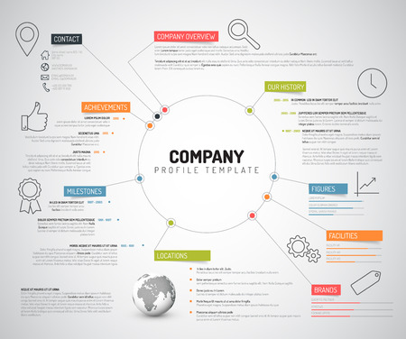 vision: Vector Company infographic overview design template with colorful labels and icons