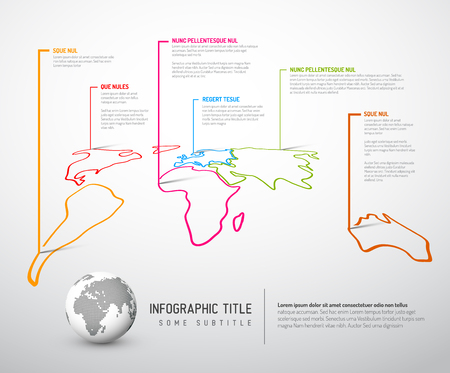 marks: Light World thin line map infographic template with pointer marks Illustration