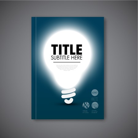 impulse: Vector book cover template with shining bulb and place for your content