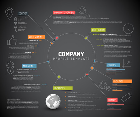 profile: Vector Company infographic overview design template with colorful labels and icons - dark version