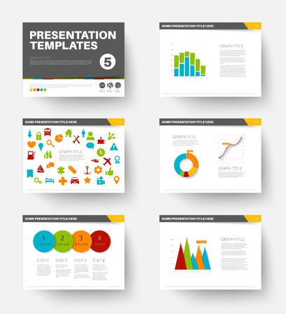 Minimalistic flat design Vector Template for presentation slides part 5 Stock Illustratie