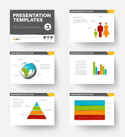 Minimalistic flat design Vector Template for presentation slides part 3 Illustration