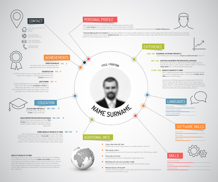 experience: Vector original minimalist cv  resume template - creative version with colorful headings and icons