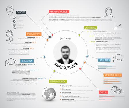 profil: Wektor Oryginalny minimalistyczny CV  Resume template - twórcze wersja z kolorowymi pozycjami i ikonami Ilustracja