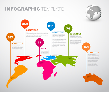 Light World map infographic template with droplet pointer marks