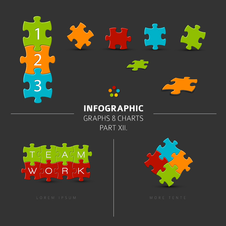 pieces: Vector puzzle elements for your infographics - part 12. of my infographic bundle, dark version