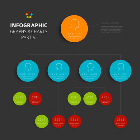 hierarchy: Set of vector flat design infographics hierarchy diagram - part 5 of my infographic budndle, dark version