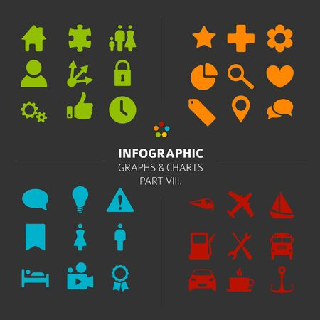 icon collection: Minimalistic Infographic Vector icon collection - flat design style, part 8 of my infographic bundle, dark version