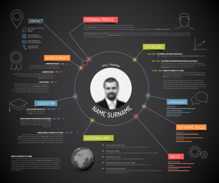 Vector original minimalist cv / resume template - creative version with colorful headings and icons, dark version 일러스트