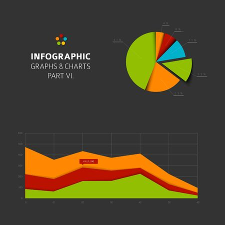 charts and graphs: Set of vector flat design infographics statistics charts and graphs -  part 6 of my infographic bundle, dark version Illustration