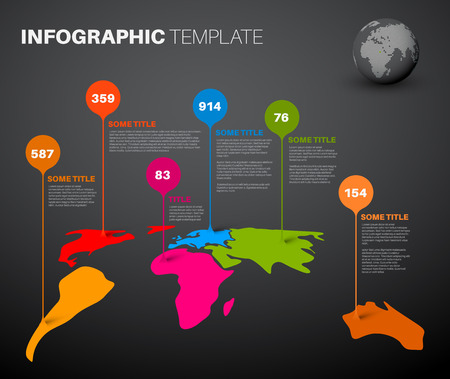marks: Light World map infographic template with droplet pointer marks - dark version