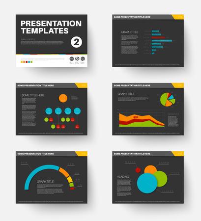 slide show: Minimalistic flat design Vector Template for presentation slides part 2, dark version