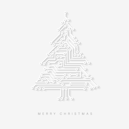 electronic: Vector light christmas tree from digital electronic circuit with long shadow