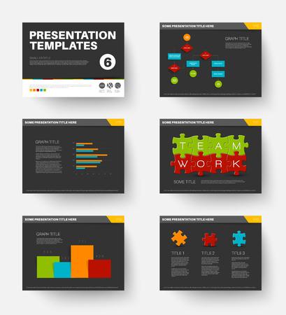 slide show: Minimalistic flat design Vector Template for presentation slides part 6, dark version