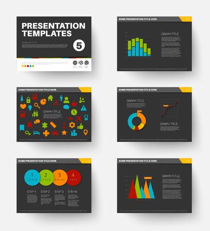 Minimalistic flat design Vector Template for presentation slides part 5, dark version