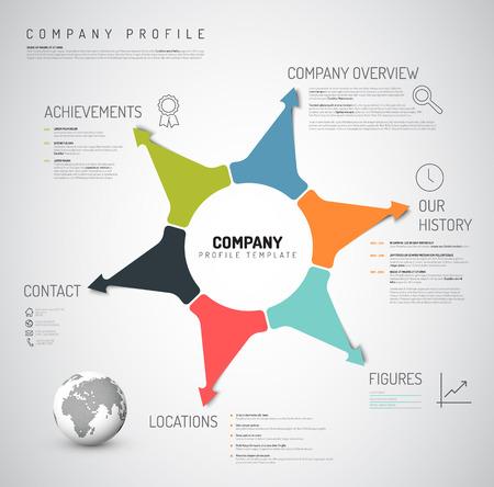 Vector Company infographic overzicht ontwerp sjabloon met kleurrijke pijlen en pictogrammen Stock Illustratie