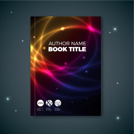 Modern dark Vector abstract brochure  book  flyer design template with plasma effect