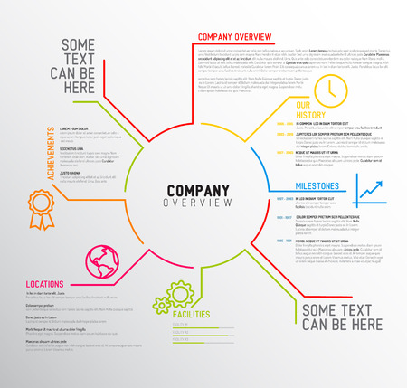 Vector Company infographic overview design template with thin line icons Vectores