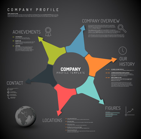 company: Vector Company infographic overview design template with colorful arrows and icons - dark version Illustration