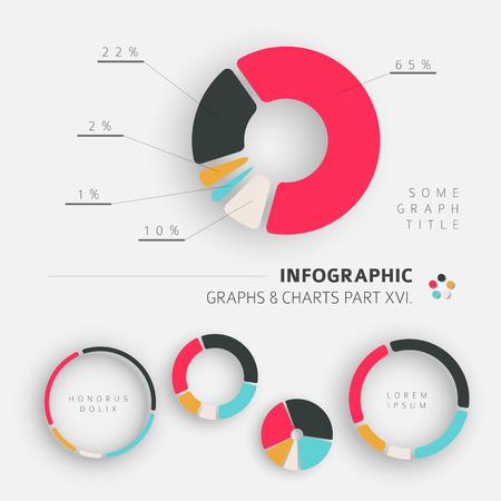 graficas de pastel: Vector de diseño plana elementos infográficos - Pie Charts - 16. parte de mi paquete infografía