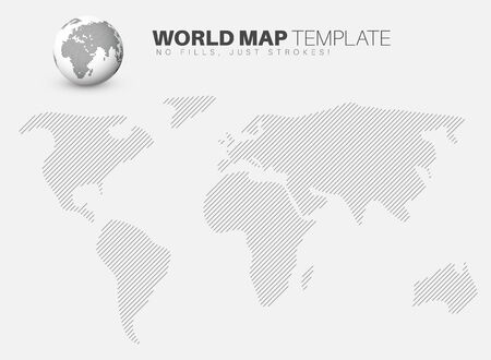 diagonal: World map template made from diagonal lines for your infographics reports