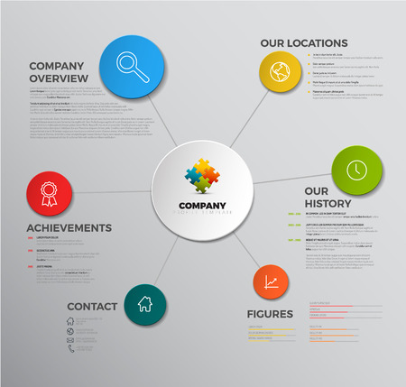 profil: Wektor Spółka infografika przegląd szablon z ikon Ilustracja