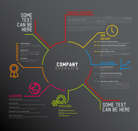 company background: Vector Company infographic overview design template with thin line icons - dark version