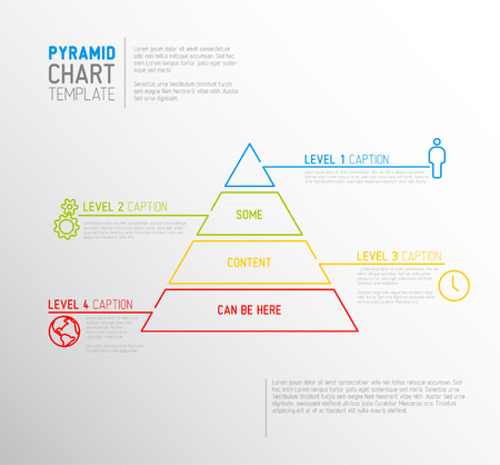 schema: Vector Infographic Pyramid chart diagram template with icons, made by thin line