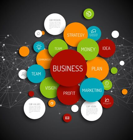 overview: Vector Abstract Business infographic schema - dark version