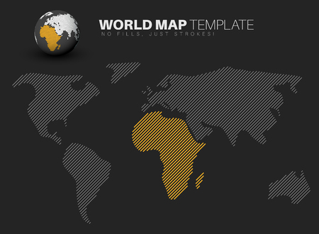 diagonal: World map template made from diagonal lines for your infographics reports - dark version