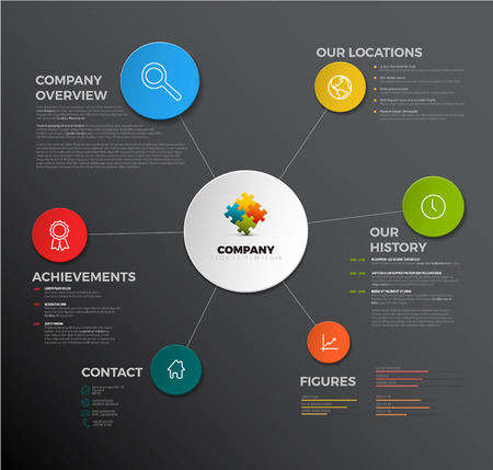 Vector Company infographic overview design template with icons - dark version