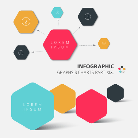 hexa: Vector flat design infographic elements - 19. part of my infographic bundle Illustration