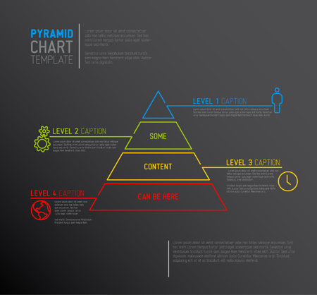 schema: Vector Infographic Pyramid chart diagram template with icons, made by thin line - dark version