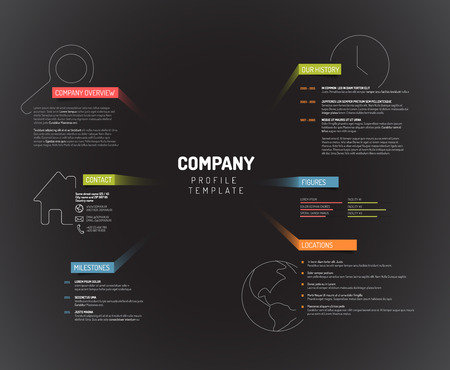 overview: Vector Company infographic overview design template with colorful labels - dark version