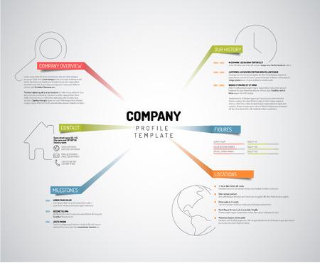 empresas: Vector Compañía infografía plantilla de diseño resumen con etiquetas de colores - versión ligera