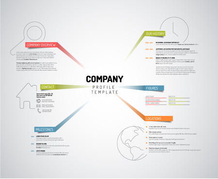 profile: Vector Company infographic overview design template with colorful labels - light version