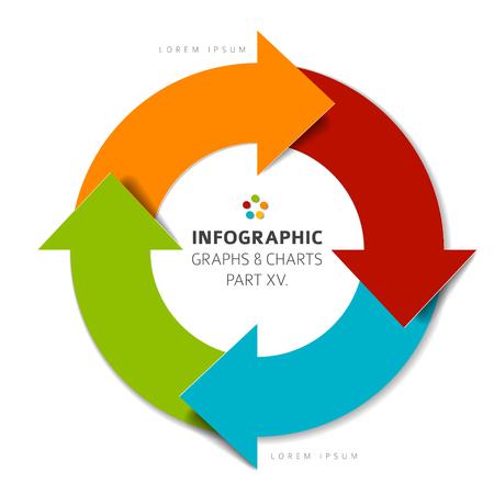Vector płaska elementy infographic (cykl okrąg ze strzałkami) - 15. Część mojego infografika wiązce Ilustracje wektorowe