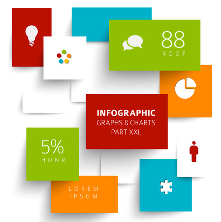 Vector flat design infographic elements (diagrams with rectangles) - 21. part of my infographic bundle Illustration