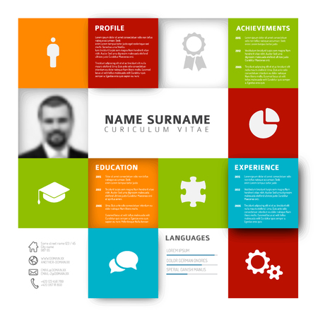 profile: Vector mosaic minimalist cv  resume template profile